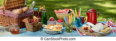 Panorama banner with a healthy summer picnic