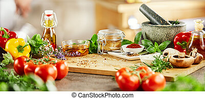 Panorama banner with fresh culinary herbs