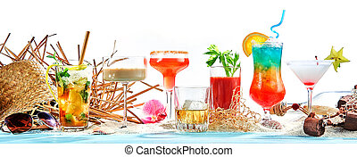 Panorama banner with large assortment of cocktails
