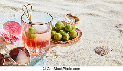 Panorama banner with vodka cocktail and olives