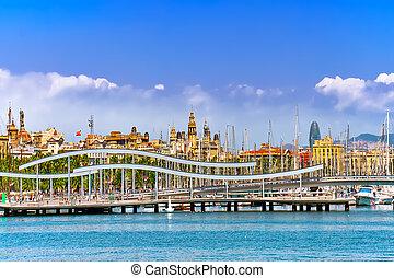 panorama, .barcelona., spanien, barcelona, seehafen