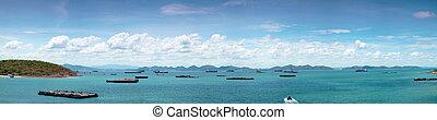 panorama, bateau, sea., cargaison