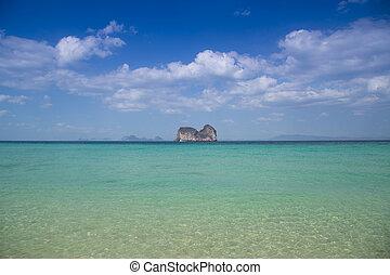 Panorama beach and center island with sunny sky, summer travel i
