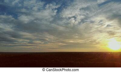 panorama, beau, ciel, coucher soleil, crépuscule