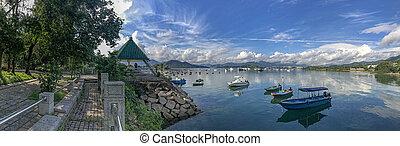 Panorama beautiful photography mountain, cloudscape, boat on lake
