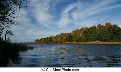 beautiful river landscape in the autumn