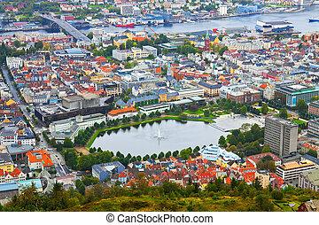 panorama, bergen, aéreo, noruega