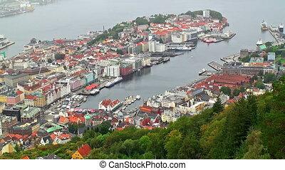 panorama, bergen, aérien, norvège