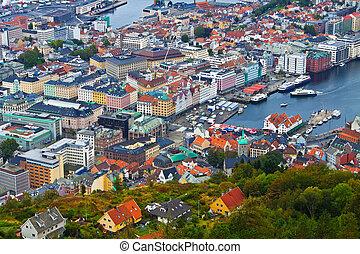 panorama, bergen, norvegia