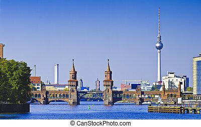 panorama, berlim, oberbaumbruecke