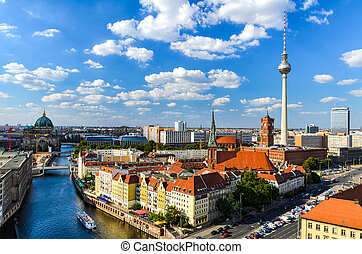 panorama, berlin, sylwetka na tle nieba