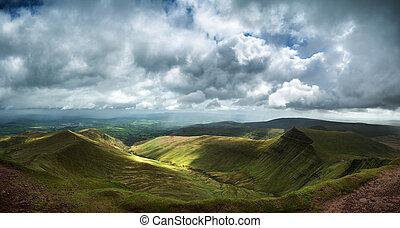 panorama, bild, breco, spitze, pen-y-fan, landschaftsbild, ansicht