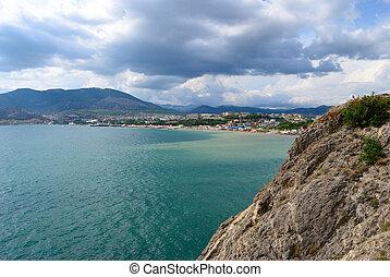 Panorama. Black sea in Sudak city