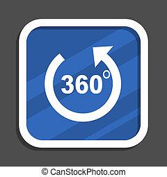 Panorama blue flat design square web icon