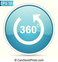 Panorama blue glossy round vector icon in eps 10. Editable modern design internet button on white background.