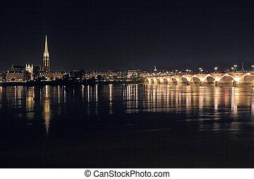 panorama, bordeaux, notte