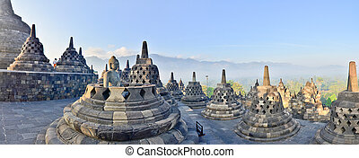 Panorama Borobudur Temple, Yogyakarta, Java, Indonesia. -...