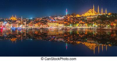 panorama,  bosporus,  OS,  Istanbul, notte
