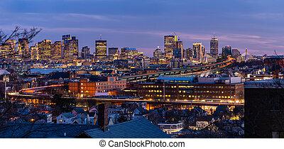 panorama, boston, cityscape