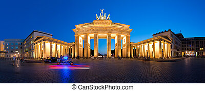 Panorama Brandenburg Gate at Night V2 - Berlin Germany...