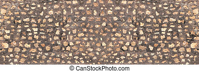 Panorama Brown stone wall for background design.