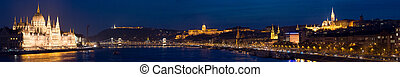 panorama, budapest, europe., city., hungria