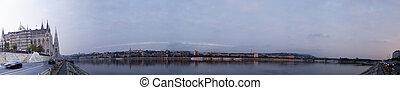 panorama, budapest, temps, matin