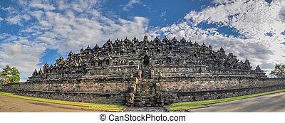 Panorama Buddist temple Borobudur complex in Yogjakarta in...