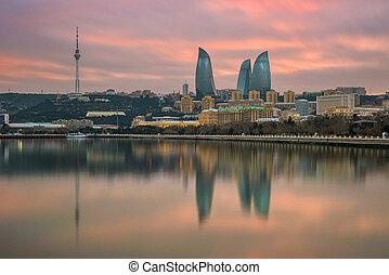 panorama, bulevar, baku, playa, azerbaiyán