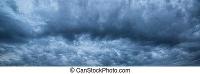 panorama, céu dramático, tempestuoso, skyscape
