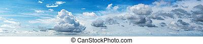 panorama, céu, nublado
