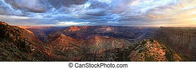 panorama, cañon, velg, zuiden, voornaam, zonopkomst