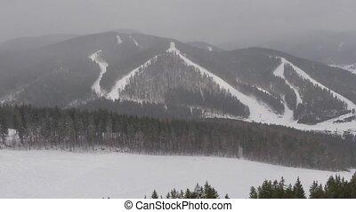 Panorama Carpathians snow day. drone video