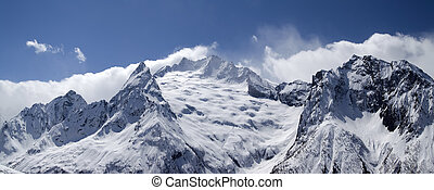 Panorama Caucasus Mountains. Dombay. Peak Ine.