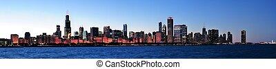 panorama, chicago, noturna