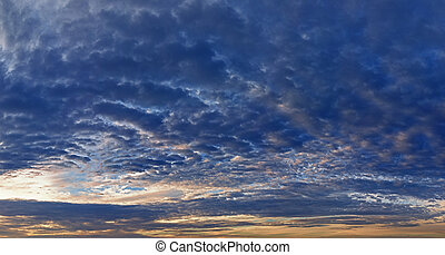 panorama, ciel, coucher soleil
