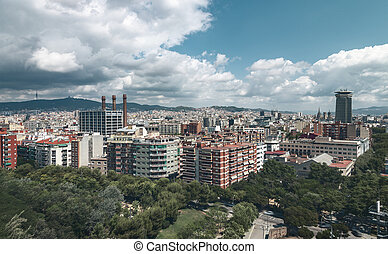 panorama, ciel dramatique, barcelone