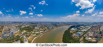 Panorama cityscape of suburb area in Ho Chi Minh city