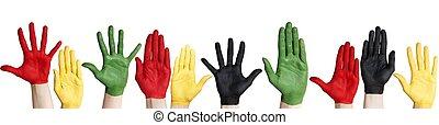 panorama, colorido, manos