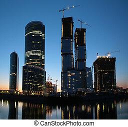 panorama, construcción, ocaso, rascacielos, debajo