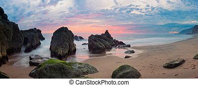 panorama, costa pacífica, puesta sol california, por, ...