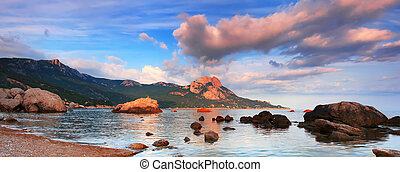 panorama, coucher soleil, mer