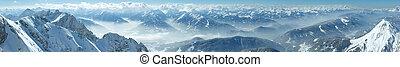 panorama., dachstein, massiv, berg, winter