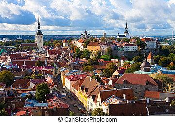 panorama, de, a, cidade velha, em, tallinn, estónia