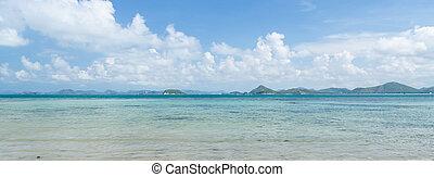panorama, de, bonito, mar, azul, céu, em, verão, em, sattahip, chonburi, tailandia