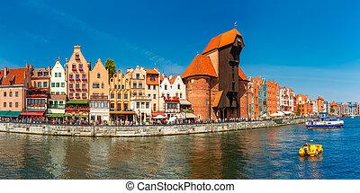 panorama, de, cidade velha, e, motlawa, em, gdansk, polônia