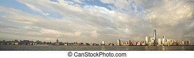 panorama, de, ciudad nueva york