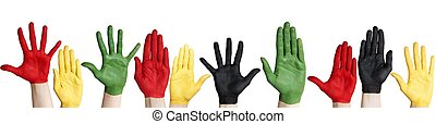 panorama, de, coloridos, mãos