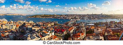 panorama, de, doré, corne, golfe, et, les, bosphore, dans, istanbul