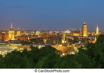 panorama, de, gdansk, à noite